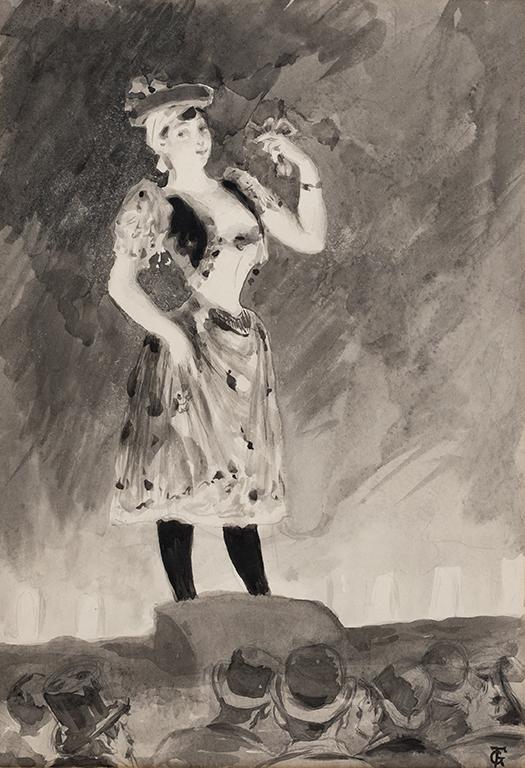 FERRIER Gabriel (1847-1914) - 'Chanteuse sur la scene'.