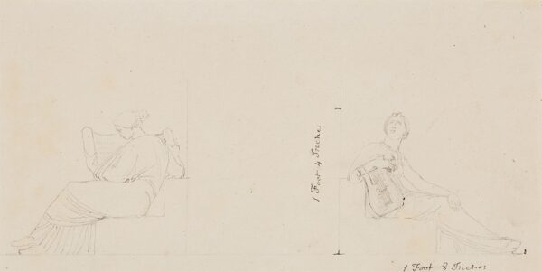 FLAXMAN John R.A. (1755-1826) - Allegorical figures for Music and (?) Literature, for the façade decoration, Buckingham Palace.