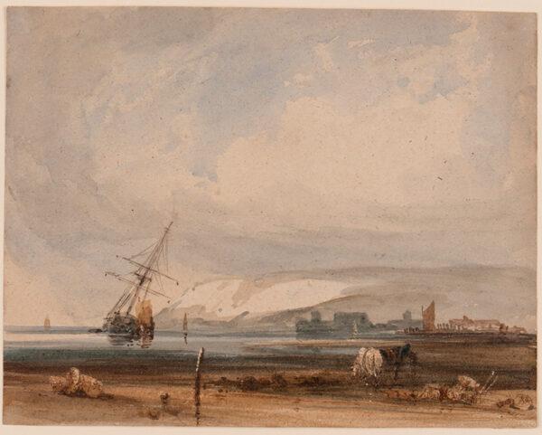 BONINGTON Richard Parkes (1802-1828) Circle of - Le Pointe de la Heve, Sainte Adresse, opposite Le Havre.