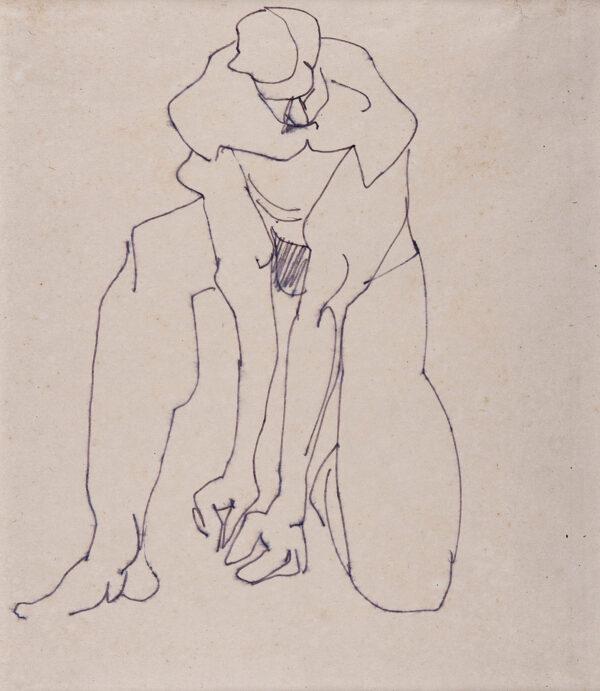 GAUDIER-BRZESKA Henri (1891-1915) - Kneeling figure.