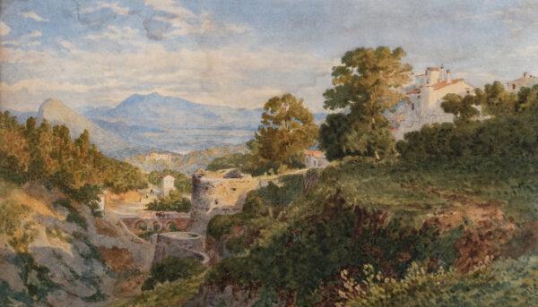 GLENNIE Arthur R.W.S. (1803-1890) - View south-east from La Cava, towards Vietri and Salerno.