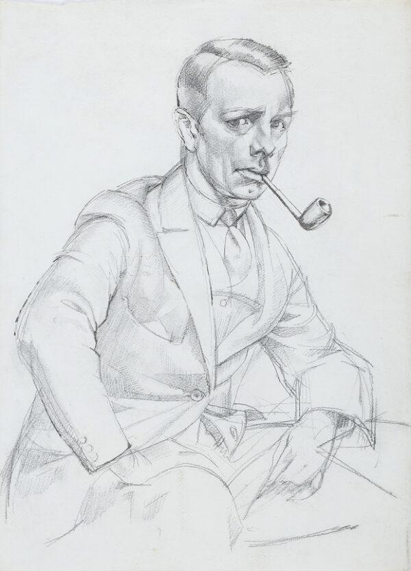 GRANT James Arden P.P.S. R.E. (1887-1973) - Self-portrait study, with pipe.