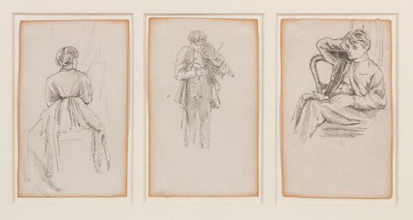GREENAWAY Kate (1846-1901) - Painting, Music and Music: three studies from a sketchbook mounted together.
