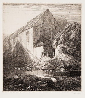 GRIGGS Frederick Landseer Maur Griggs R.A. R.E. (1876-1938) - 'Meppershall Chapel' (C.