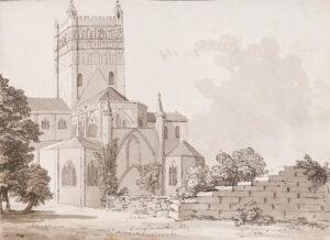GRIMM Samuel Hieronymus (1733-1794) - 'East End of Tewkesbury Abbey'.