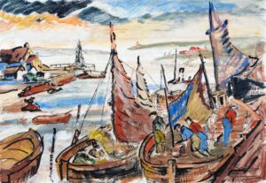 GRIMM Stanley R.P. P.R.O.I. N.S. (1891-1966) - A Cornish harbour.