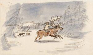 GROSS Anthony R.A. (1905-1984) - Girl on a reindeer.