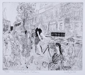 GROSS Anthony R.A. (1905-1985) - 'Girl on Bicycle, Fulham' (RH 4701) Etching.