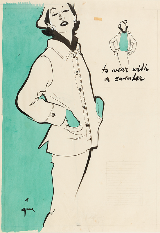 GRUAU Rene (1909-2004) - 'to wear with a sweater'.