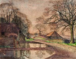 GWYNNE-JONES Allan D.S.O. R.A. (1892-1982) - Study for 'Spring Evening Froxfield' (Oil on canvas, Birmingham Museums Trust).