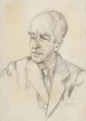 GWYNNE-JONES Allan R.A. (1892-1982) - Portrait of the Greek Scholar, Poet and Collector, Professor John Mavrogordato (1882-1970) pencil, Signed and dated, 1944.