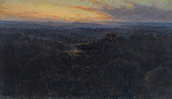 HADDON Trevor (1864-1941) - Sunset over a wooded valley.