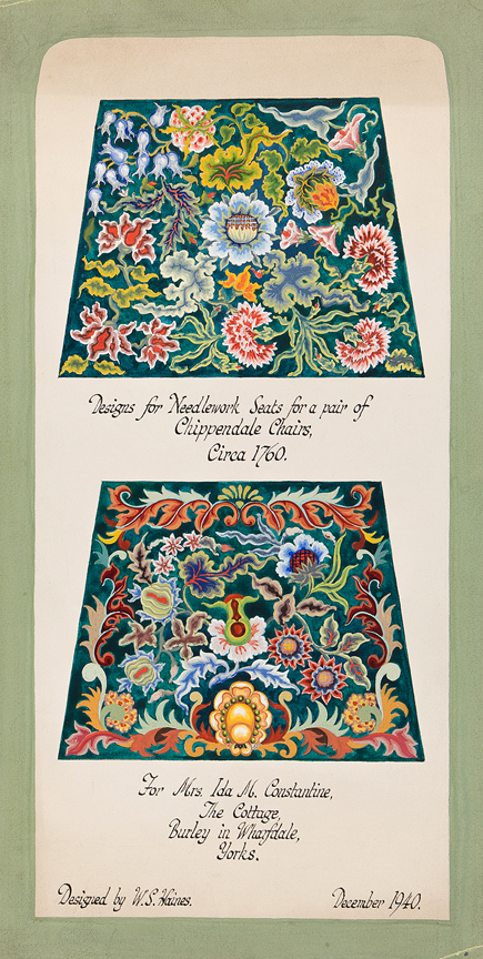 HAINES William Stanley (1905-1944) - 'Design for Needlework Seats for a pair of Chippendale Chairs'.