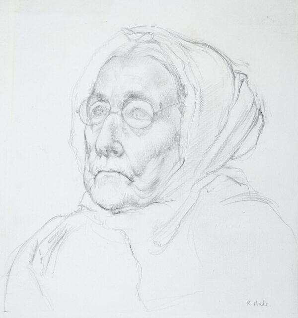 HALE Kathleen (1898-2000) - Study of an old woman, Etaples.