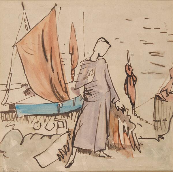 CLARKE HALL Edna (1878-1978) - The Quay Side, Cornwall.