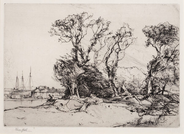 HALL Oliver R.A. R.E. (1869-1957) - Trees and harbor.
