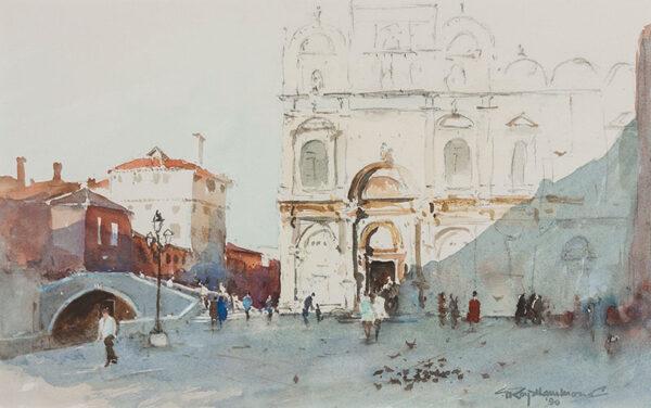 HAMMOND Roy (b.1934) - Campo SS Giovanni e Paolo (Zanipolo) Venice.