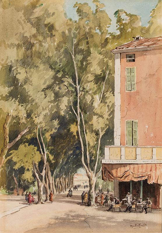 HARDIE Martin R.I. R.E. (1875-1952) - 'An avenue of plane trees, Vaison', Vaucluse.
