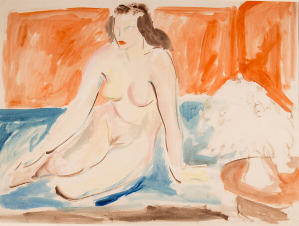 HARRISON John Theodore (1914-2002) - Nude against a red wall.