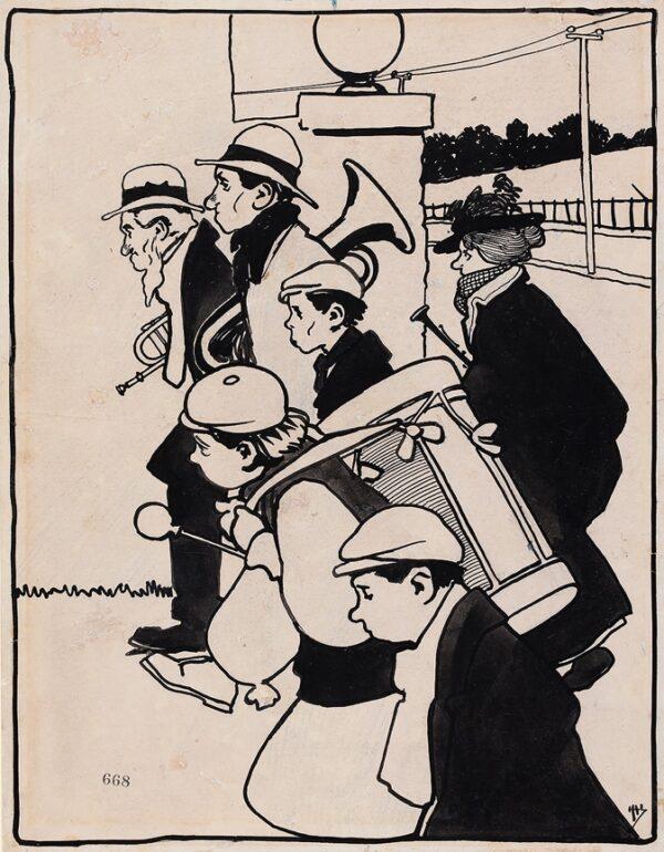 HASSALL John (1868-1948) Circle of - A travelling Band.