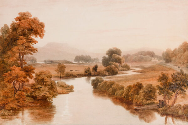 HAVELL William O.W.S. (1782-1857) - This watercolour was paired with one of Cilgerran Castle on the river Teifi and may be a view on that river below Cilgerran.
