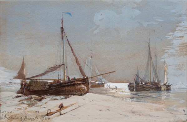 HAYES Edwin R.I. (1819-1904) - 'Schevening', fishing Smacks beached at low tide.
