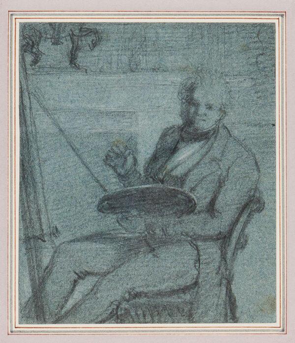 HAYTER Sir George (1792-1871) - Self-portrait at his easel.