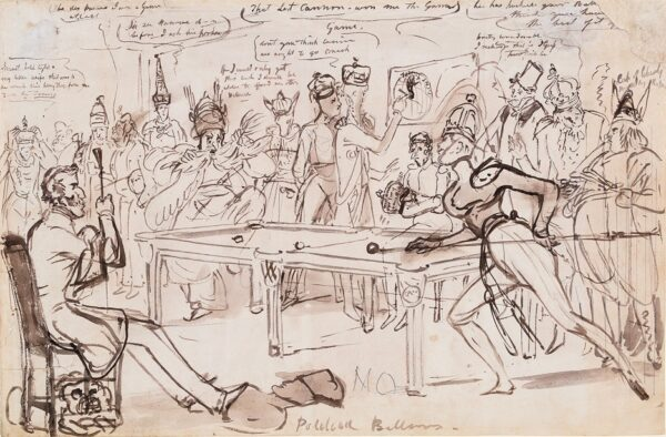 HEATH William (1794-1840) - 'Political Billiards': Count Orlov and Abdulkadir Bey watched by the Duke of Wellington at Treaty of Adrianople.