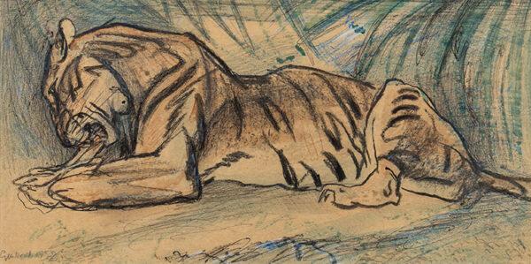HENDERSON Elsie (1880-1967) - Tiger feeding.
