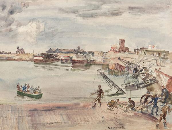 HENNELL Thomas R.W.S. (1903-1945) - 'Docks ex entrepots (sic) / du Port du Calais / Bassin Ouest'.