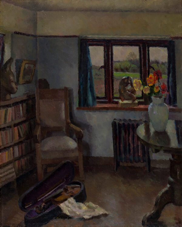 HEPWORTH Dorothy (1898-1978) - 'Interior' with violin, probably the Cookham house shared by the artist and her lover Patricia Preece (later Mrs Stanley Spencer) Oil on canvas.