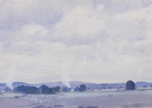 HERBERT Harold Brocklebank (1891-1945) - Australia 'Sheep Country, Victoria'.