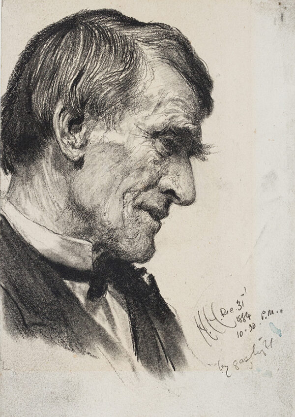 HERKOMER Hubert von R.A. (1849-1914) - 'By gaslight'; study of an elderly man.