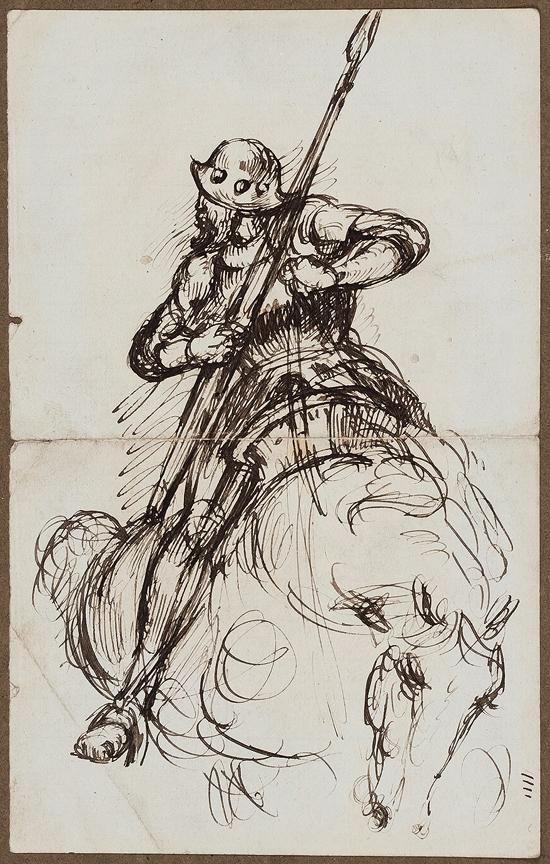 HERKOMER Sir Hubert von R.A. (1849-1914) - Study of a mounted Knight.