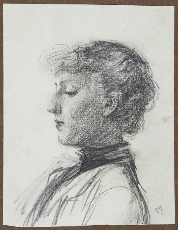 HERKOMER Hubert von R.A. (1849-1914) - Head and shoulders of a girl in profile.