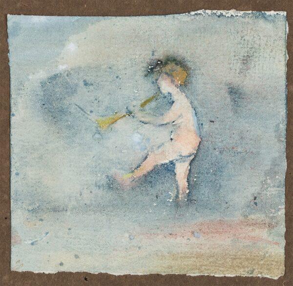 HERKOMER Hubert von R.A. (1849-1914) - Child playing a trumpet.