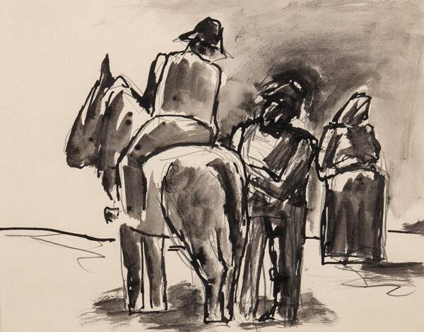 HERMAN Josef R.A. (1911-2000) - Peasants with mule.
