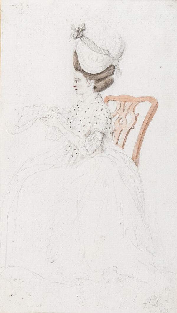 HIGHMORE Anthony (1719-1799) (Attributed to) - Seated Lady with a lace cap.
