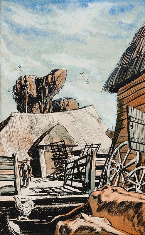 HILDER Rowland P.P.R.I. R.S.M.A. (1905-1993) - A farmyard.