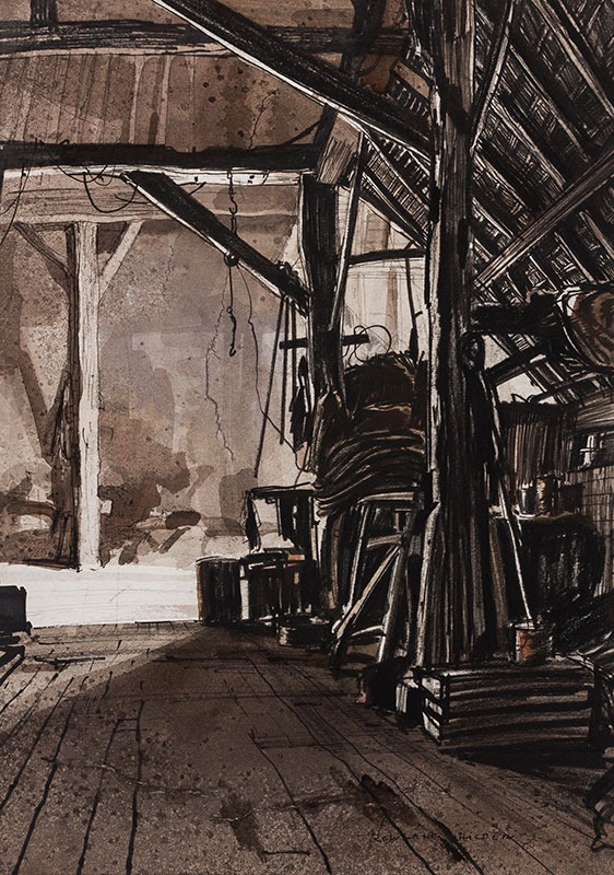 HILDER Rowland P.R.I. (1905-1993) - Barn interior.