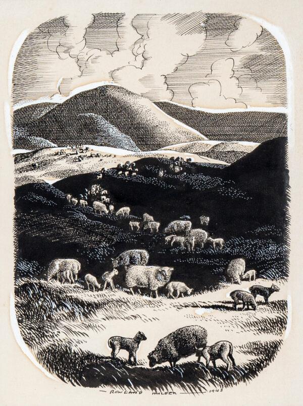 HILDER Rowland P.R.I. (1905-1993) - An upland flock.