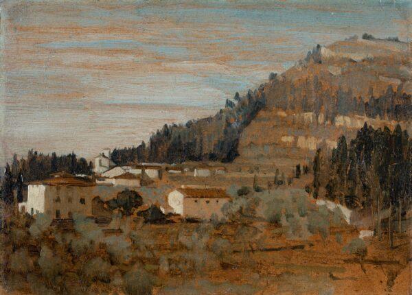 HILL Derek (1916-2000) - Landscape near Florence Oil on card.