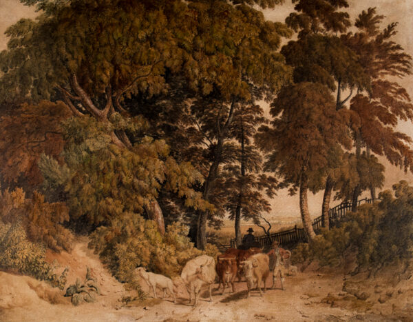 HILLS Robert O.W.S. (1869-1844) - Cattle driven beneath trees.