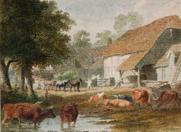 HILLS Robert OWS (1769-1844) - A farmyard.