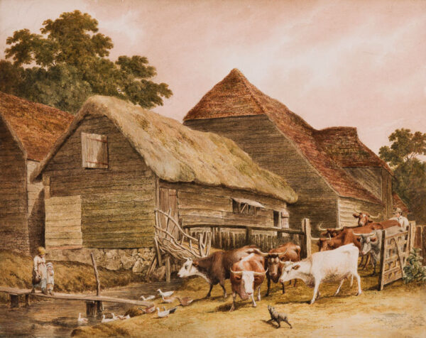 HILLS Robert O.W.S. (1769-1844) - Letting out the Cows.