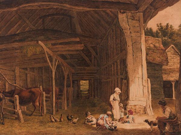 HILLS Robert P.O.W.S (1769-1844) - Interior of a barn.