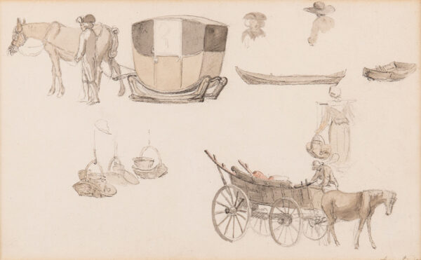 HILLS Robert O.W.S (1769-1844) - 'Sketches of Diligences at Amsterdam' Pencil and watercolour.