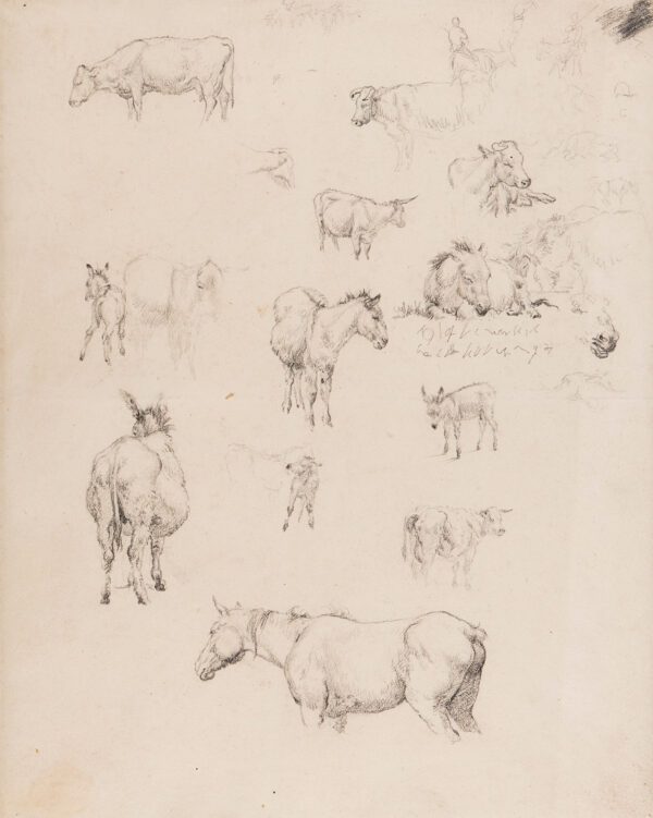 HILLS Robert P.O.W.S. (1769-1844) - Studies of donkeys, a horse and cows.