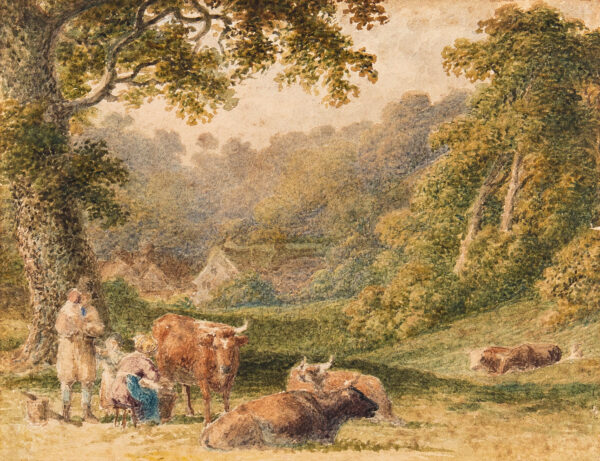 HILLS Robert P.O.W.S. (1769-1844) - Cattle in a wooded vale.
