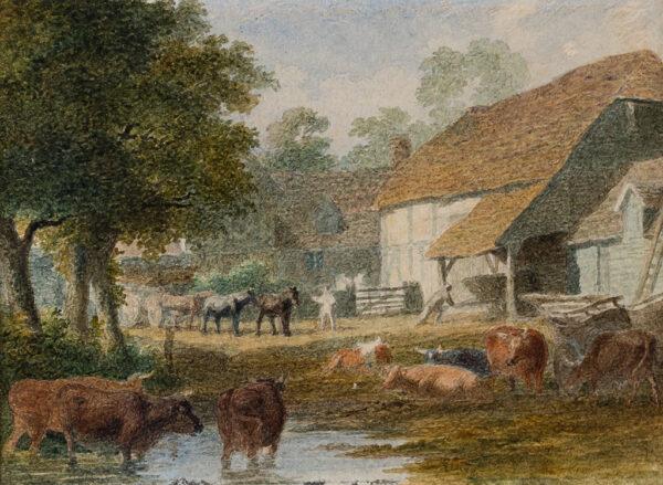 HILLS Robert P.O.W.S. (1769-1844) - A farm-yards pond.